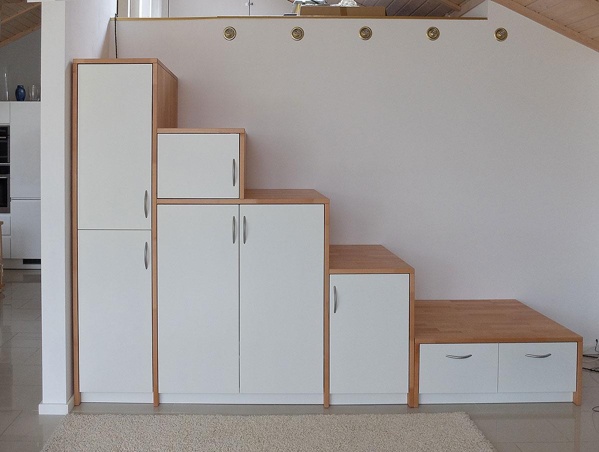 Schrank Buchenholz und weiß lackiert, Raumteiler